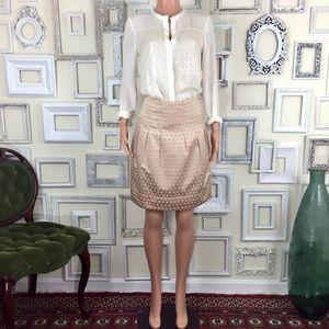 Anthropologie | Elevenses Blush Satin A-line Skirt